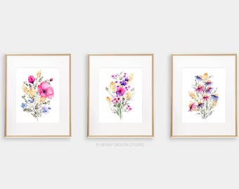 Art Print BUNDLE Set of 3, Watercolor Floral Giclée print 8x10, 11x14, 12x16, 13x19, Frame NOT included, Archival Art Print Wall Gallery Set