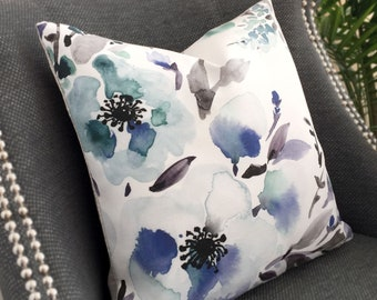 Beautiful Watercolor Floral Pillow Cover Dreamy Blue Cushion Cover, Quality Linen Pillow cover Designed and Handmade in Canada