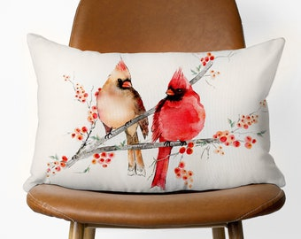 Cardinal Birds Eco-Friendly Decorative Pillow Available With or Without Pillow Insert | Beautiful Watercolour Cardinal Birds