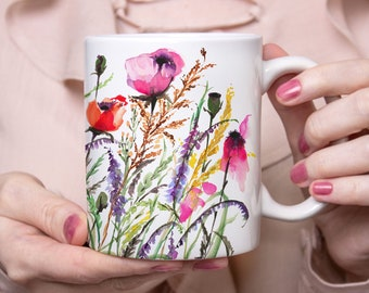 Watercolor Meadow Flowers Mug, Beautiful Coffee Mug, 11oz and 15oz available, Unique Tea Mug, Ceramic Coffee Mug Tea Mug perfect gift item