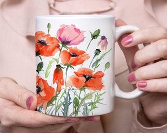 Beautiful Coffee Mug, Watercolor Poppy Garden Mug, 11oz and 15oz available, Unique Tea Mug, Ceramic Coffee Mug Tea Mug perfect gift item