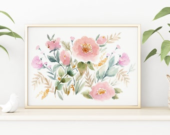 Giclée Watercolor print, Archival Art Print, Frame NOT included, Senay Studio Keira Garden Floral Print Quality Watercolour Art