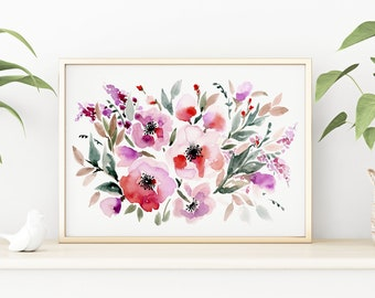 Giclée Watercolor print, Archival Art Print, Frame NOT included, Senay Studio Abstract Red Roses Print, High Quality Watercolour Wall Art