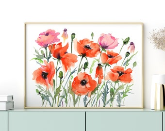 Giclée Watercolor print, Archival Art Print Frame NOT included, Abstract Water-colour Poppy Garden Artwork High Quality Watercolour Wall Art