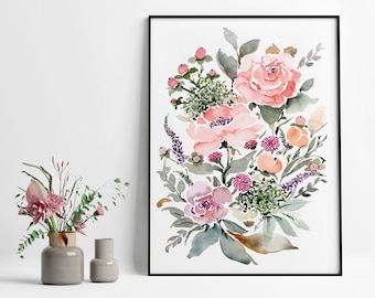 Giclée Watercolor Archival Art Print, Frame NOT included, Abstract Water-colour Rose Bouquet Artwork, High Quality Floral Watercolour Art