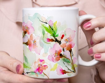 Watercolor Cherry Blossom Mug, Beautiful Coffee Mug, 11oz and 15oz available, Unique Tea Mug, Ceramic Coffee Mug Tea Mug perfect gift item