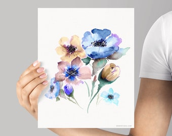 Art print, Floral Giclée print, Archival Watercolor Floral Giclée Mountain Flowers Artwork by Senay Design Studio, Frame NOT included