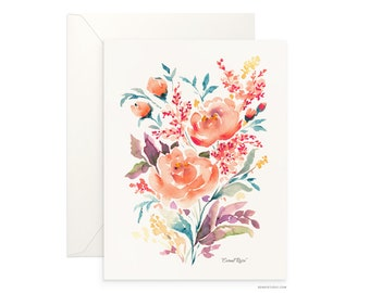 "Coral Rose 5""x7"" folded blank card, beautiful watercolour floral design, archival greeting card for any occasion by Senay design Studio"