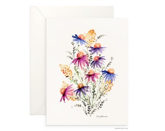 "Coneflowers 5""x7"" folded blank card, beautiful watercolour design, archival greeting card for any occasion by Senay, envelope included"