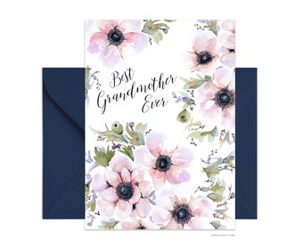 "Best Grandmother Ever 5""x7"" note card, Custom greeting card, Personalized floral card Beautiful card + envelope, Watercolor greeting card"