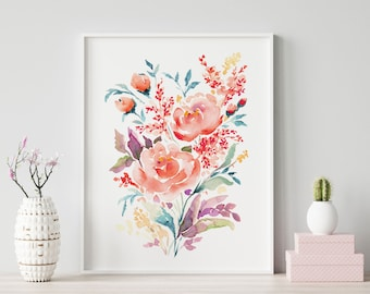 Coral Rose Giclée Watercolor print, Archival Art Print, Frame NOT included, Abstract Water-colour Artwork, High Quality Watercolour Wall Art