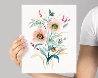 Art Print, Watercolor Floral Giclée Print, Frame NOT included, Watercolor Dancing Flowers print, Unique Watercolour Flowers Senay Studio