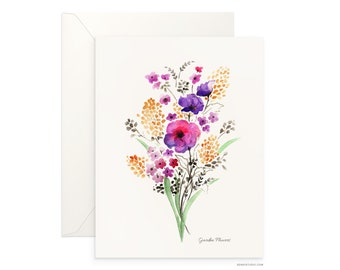 "Garden Flowers 5""x7"" folded blank card, beautiful watercolour design, archival greeting card for any occasion by Senay, envelope included"