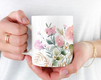 Beautiful Coffee Mug, 11oz and 15oz Coffee Mug, Unique Floral Tea Mug, Watercolor Floral Mug, Ceramic Coffee Mug Tea Mug perfect gift item