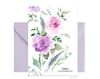 "Custom 5""x7"" note card, Thank You greeting card, Personalized floral card Beautiful card + envelope, Watercolor greeting card"