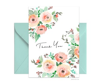 "Custom 5""x7"" note card, Thank You greeting card, Personalized Beautiful Watercolor Flower Card, card + envelope, Watercolor greeting card"