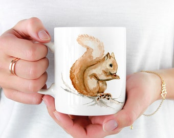 Chipper the Squirrel Coffee Mug, 11oz and 15oz Coffee Mug, Unique Ceramic Coffee and Tea Mug perfect gift item