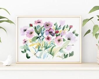 Art Print, Pink Flowers Watercolour Art Print, Giclée Watercolour, Archival Art Print, Frame NOT included, SenayStudio Quality Artwork Print