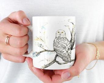 Snowy Owl Coffee Mug, 11oz and 15oz Coffee Mug, Unique Ceramic Coffee and Tea Mug perfect gift item