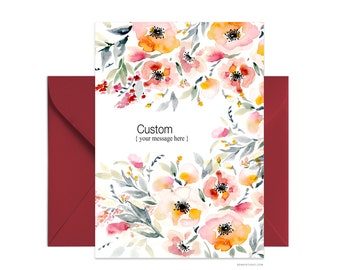 "Custom 5""x7"" note card, Happy Birthday greeting card, Personalized floral card Beautiful card + envelope, Watercolor greeting card"