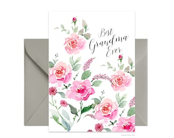 "Best Grandma Ever 5""x7"" note card, Custom greeting card, Personalized floral card Beautiful card + envelope, Watercolor greeting card"