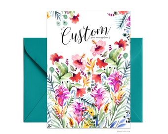 "Custom 5""x7"" note card, Best Friend Ever greeting card, Personalized floral card Beautiful card + envelope, Watercolor greeting card"