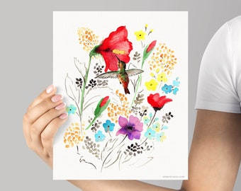 Art Print, Hummingbird Watercolor Print, Frame NOT Included, SenayStudio Archival Unique Watercolour Floral Bird Artwork High Quality Giclée