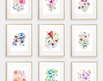Art Print BUNDLE Set of 9, 8x10 Watercolor Floral Giclée print, Frame NOT included, Senay Studio Archival Art Print Package Wall Gallery Set