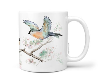 Birdie Cute Coffee Mug, 11oz and 15oz Coffee Mug, Unique Floral Tea Mug Watercolor Birds Mug Ceramic Coffee and Tea Mug perfect gift item