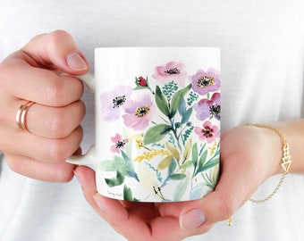 Pink Flowers Coffee Mug, 11oz and 15oz Coffee Mug, Unique Floral Tea Mug Watercolour floral Mug Ceramic Coffee and Tea Mug perfect gift item