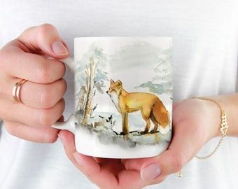 Red Fox Coffee Mug, 11oz and 15oz Coffee Mug, Unique Ceramic Coffee and Tea Mug perfect gift item