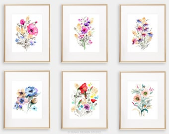 Art Print BUNDLE Set of 6, 8x10 Watercolor Floral Giclée print, Frame NOT included, Senay Studio Archival Art Print Package Wall Gallery Set