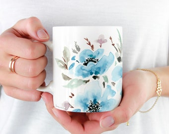 Blue Floral Coffee Mug, 11oz and 15oz Coffee Mug, Unique Floral Tea Mug Watercolor Floral Mug Ceramic Coffee and Tea Mug perfect gift item