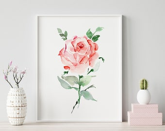 Giclée Watercolor Archival Art Print, Frame NOT included, Abstract Water-colour Rose Flower Artwork, High Quality Floral Watercolour Art