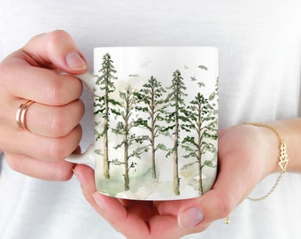 Woodland Trees Coffee Mug, 11oz and 15oz Coffee Mug, Unique Ceramic Coffee and Tea Mug perfect gift item