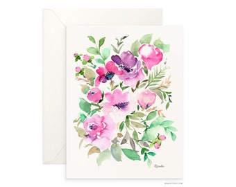 "Rosalie 5""x7"" folded blank card, beautiful watercolour floral design, archival greeting card for any occasion by Senay, envelope included"