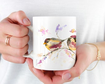 Watercolour Birds Coffee Mug, 11oz and 15oz Coffee Mug, Ceramic Coffee and Tea Mug, perfect gift item