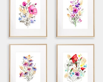 Art Print BUNDLE Set of 4, 8x10 Watercolor Floral Giclée print, Frame NOT included, Senay Studio Archival Art Print Package Wall Art