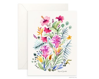 "Tropical Garden 5""x7"" folded blank card, beautiful watercolour floral, archival greeting card for any occasion by Senay, envelope included"