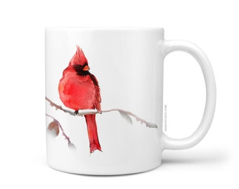 Red Cardinal Bird Coffee Mug, 11oz and 15oz Coffee Mug, Unique Ceramic Coffee and Tea Mug perfect gift item