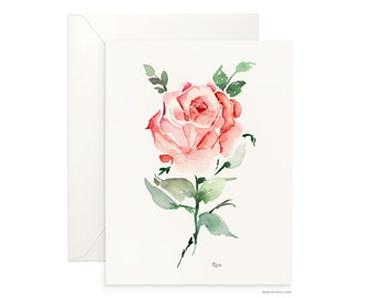 "Rose 5""x7"" folded blank card, beautiful watercolour floral design, archival greeting card for any occasion by Senay design Studio"
