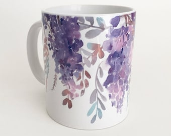 Purple Wisteria Mug, 11oz and 15oz Coffee Mug, Watercolor Flowers Mug, Floral Ceramic Coffee Mug Tea Mug perfect gift item
