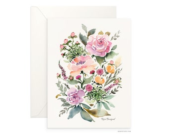"Rose Bouquet 5""x7"" folded blank card, beautiful watercolour floral design, archival greeting card for any occasion by Senay design Studio"