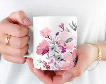 Beautiful Coffee Mug, 11oz and 15oz Coffee Mug, Unique Floral Tea Mug Watercolor Floral Mug Ceramic Coffee and Tea Mug perfect gift item