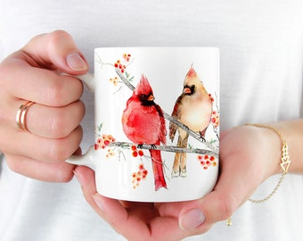 Cardinal Birds Coffee Mug, 11oz and 15oz Coffee Mug, Unique Ceramic Coffee and Tea Mug perfect gift item