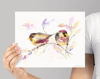 Art Print, Watercolor Birds Giclée, frame Not included, Watercolour print, Cute Bird illustration, High Quality Museum grade Archival Print