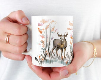Beautiful Deer Coffee Mug, 11oz and 15oz Coffee Mug, Unique Ceramic Coffee and Tea Mug perfect gift item
