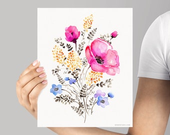Art Print Pink Poppy Floral Watercolor Giclée Print, Watercolour Pink Poppy, Frame NOT included, SenayStudio Quality Archival Artwork Print