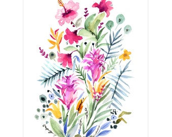 High Quality Art Print, Giclée Watercolor print, Archival Art Print, Frame NOT included, Tropical Garden Artwork, Watercolour Print
