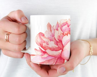 Pink Peony Coffee Mug, 11oz and 15oz Coffee Mug, Beautiful Flower Tea Mug Watercolor Floral Mug Ceramic Coffee and Tea Mug perfect gift item